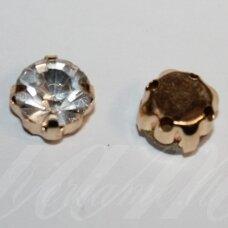 PJA4G01-06x4 apie 6 x 4 mm, 4 skylių, aukso spalva metalinis pagrindas, disko forma, skaidri spalva, prisiuvama juvelyrinė akutė, 8 vnt.