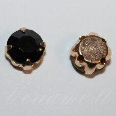 PJA4G02-09x7 apie 9 x 7 mm, 4 skylių, aukso spalva metalinis pagrindas, disko forma, juoda spalva, prisiuvama juvelyrinė akutė, 6 vnt.