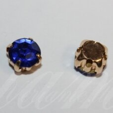 pja4g03-06x4 about 6 x 4 mm, 4 holes gold color metal basis, disk shape, blue color, sew-on jeweled eye, 8 pcs.