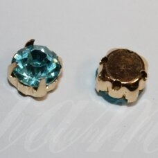 pja4g05-06x4 about 6 x 4 mm, 4 holes gold color metal basis, disk shape, light blue color, sew-on jeweled eye, 8 pcs.