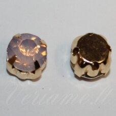 PJA4G07-09x7 apie 9 x 7 mm, 4 skylių, aukso spalva metalinis pagrindas, disko forma, rožinė spalva, prisiuvama juvelyrinė akutė, 6 vnt.