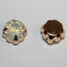 PJA4G08-09x7 apie 9 x 7 mm, 4 skylių, aukso spalva metalinis pagrindas, disko forma, gelsva spalva, prisiuvama juvelyrinė akutė, 6 vnt.