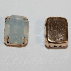 PJA4G08-STAC- 10x8x6 apie 10 x 8 x 6 mm, 4 skylių, auksinė spalva metalinis pagrindas, stačiakampio forma, gelsva akutės spalva, prisiuvama juvelyrinė akutė, 4 vnt.
