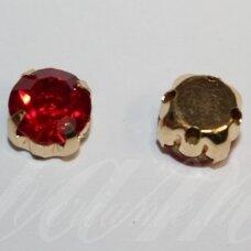 PJA4G09-09x7 apie 9 x 7 mm, 4 skylių, aukso spalva metalinis pagrindas, disko forma, raudona spalva, prisiuvama juvelyrinė akutė, 6 vnt.