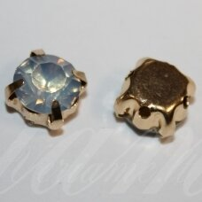 pja4g10-08x6 apie 8 x 6 mm, 4 holes gold color metal basis, disk shape, blue opalite color, sew-on jeweled eye, 6 pcs.