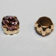 pja4g12-06x4 about 6 x 4 mm, 4 holes gold color metal basis, disk shape, pink color, sew-on jeweled eye, 8 pcs.