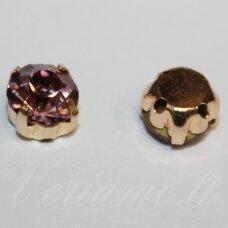 pja4g12-07x5 apie 7 x 5 mm, 4 skylių, auksinė spalva metalinis pagrindas, disko forma, rožinė spalva, prisiuvama juvelyrinė akutė, 8 vnt.