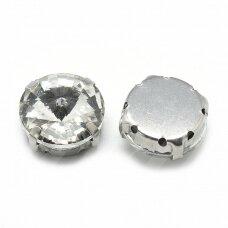 pja4m01-disk-12 apie 12 mm, 4 skylių, metalo spalva, metalinis pagrindas, disko forma, skaidrus, prisiuvama juvelyrinė akutė, 4 vnt.