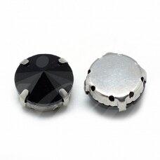pja4m02-disk-10 apie 10 mm, 4 skylių, metalo spalva, metalinis pagrindas, disko forma, juoda spalva, prisiuvama juvelyrinė akutė, 6 vnt.