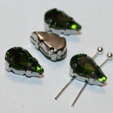 PJA4M14-LAS-06x10 apie 6 x 10 mm, 4 skylių, metalo spalva metalinis pagrindas, lašo forma, žalia spalva, prisiuvama juvelyrinė akutė, 6 vnt.