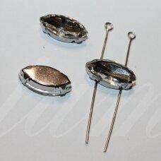 pja4m01-pai-06x12 apie 6 x 12 mm, 4 skylių, metalo spalva metalinis pagrindas, pailga forma, skaidrus, prisiuvama juvelyrinė akutė, 6 vnt.