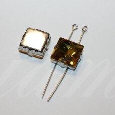 PJA4M13-KVAD-10x10 apie 10 x 10 mm, 4 skylių, metalo spalva metalinis pagrindas, kvadrato forma, geltona spalva, prisiuvama juvelyrinė akutė, 4 vnt.