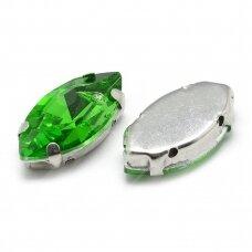 pja4m14-pai-04x15 apie 4 x 15 mm, 4 skylių, metalo spalva, metalinis pagrindas, pailga forma, žalia spalva, prisiuvama juvelyrinė akutė, 6 vnt.