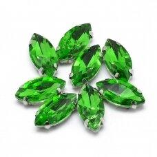 pja4m14-pai-05x10 apie 5 x 10 mm, 4 skylių, metalo spalva metalinis pagrindas, pailga forma, žalia spalva, prisiuvama juvelyrinė akutė, 6 vnt.