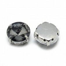 pja4m16-disk-08 apie 8 mm, 4 skylių, metalo spalva, metalinis pagrindas, disko forma, pilka spalva, prisiuvama juvelyrinė akutė, 6 vnt.
