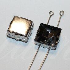 pja4m16-kvad-14x14 apie 14 x 14 mm, 4 skylių, metalo spalva metalinis pagrindas, kvadrato forma, pilka spalva, prisiuvama juvelyrinė akutė, 2 vnt.
