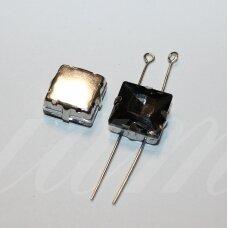 PJA4M16-KVAD-12x12 apie 12 x 12 mm, 4 skylių, metalo spalva metalinis pagrindas, kvadrato forma, pilka spalva, prisiuvama juvelyrinė akutė, 3 vnt.