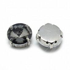 pja4m16-disk-12 apie 12 mm, 4 skylių, metalo spalva, metalinis pagrindas, disko forma, pilka spalva, prisiuvama juvelyrinė akutė, 4 vnt.