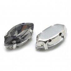 pja4m16-pai-07x15 apie 7 x 15 mm, 4 skylių, metalo spalva, metalinis pagrindas, pailga forma, pilka spalva, prisiuvama juvelyrinė akutė, 6 vnt.