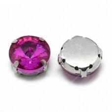 pja4m17-disk-10 apie 10 mm, 4 skylių, metalo spalva, metalinis pagrindas, disko forma, rožinė spalva, prisiuvama juvelyrinė akutė, 6 vnt.