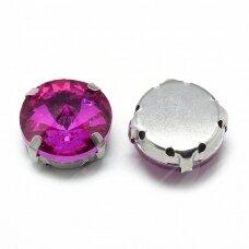 pja4m17-disk-08 apie 8 mm, 4 skylių, metalo spalva, metalinis pagrindas, disko forma, rožinė spalva, prisiuvama juvelyrinė akutė, 6 vnt.