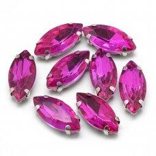 pja4m17-pai-04x8 apie 4 x 8 mm, 4 skylių, metalo spalva metalinis pagrindas, pailga forma, rožinė spalva, prisiuvama juvelyrinė akutė, 8 vnt.