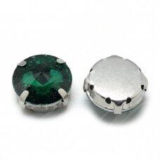 pja4m18-disk-12 apie 12 mm, 4 skylių, metalo spalva, metalinis pagrindas, disko forma, žalia spalva, prisiuvama juvelyrinė akutė, 4 vnt.