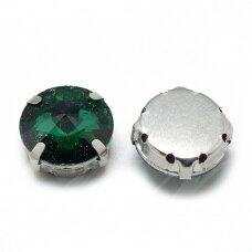 pja4m18-disk-10 apie 10 mm, 4 skylių, metalo spalva, metalinis pagrindas, disko forma, žalia spalva, prisiuvama juvelyrinė akutė, 6 vnt.