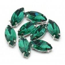 pja4m18-pai-05x10 apie 5 x 10 mm, 4 skylių, metalo spalva metalinis pagrindas, pailga forma, žalia spalva, prisiuvama juvelyrinė akutė, 6 vnt.