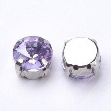 pja4m19-disk-10 apie 10 mm, 4 skylių, metalo spalva, metalinis pagrindas, disko forma, violetinė spalva, prisiuvama juvelyrinė akutė, 6 vnt.