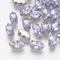 pja4m19-pai-06x12 apie 6 x 12 mm, 4 skylių, metalo spalva, metalinis pagrindas, pailga forma, violetinė spalva, prisiuvama juvelyrinė akutė, 6 vnt.