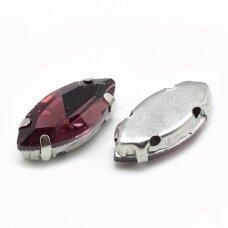 pja4m20-pai-06x12 apie 6 x 12 mm, 4 skylių, metalo spalva, metalinis pagrindas, pailga forma, alyvinė spalva, prisiuvama juvelyrinė akutė, 6 vnt.