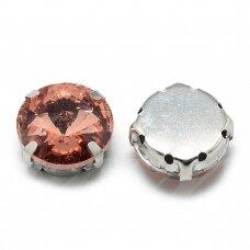 pja4m21-disk-12 apie 12 mm, 4 skylių, metalo spalva, metalinis pagrindas, disko forma, persikinė spalva, prisiuvama juvelyrinė akutė, 4 vnt.