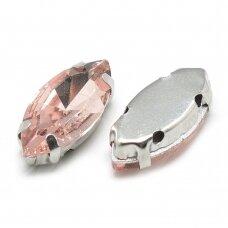 pja4m21-pai-07x15 apie 7 x 15 mm, 4 skylių, metalo spalva, metalinis pagrindas, pailga forma, persikinė spalva, prisiuvama juvelyrinė akutė, 6 vnt.
