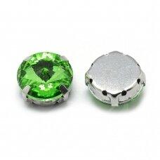 pja4m23-disk-10 apie 10 mm, 4 skylių, metalo spalva, metalinis pagrindas, disko forma, žalia spalva, prisiuvama juvelyrinė akutė, 6 vnt.