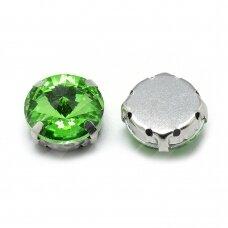 pja4m23-disk-08 apie 8 mm, 4 skylių, metalo spalva, metalinis pagrindas, disko forma, žalia spalva, prisiuvama juvelyrinė akutė, 6 vnt.