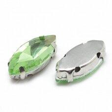 pja4m23-pai-07x15 apie 7 x 15 mm, 4 skylių, metalo spalva, metalinis pagrindas, pailga forma, žalia spalva, prisiuvama juvelyrinė akutė, 6 vnt.