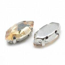 pja4m24-pai-07x15 apie 7 x 15 mm, 4 skylių, metalo spalva, metalinis pagrindas, pailga forma, šviesi, gintaro spalva, prisiuvama juvelyrinė akutė, 6 vnt.
