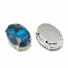 pja4m18-oval-10x14 apie 10 x 14 mm, 4 skylių, metalo spalva metalinis pagrindas, ovalo forma, žalia spalva, prisiuvama juvelyrinė akutė, 4 vnt.