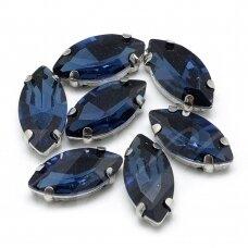 pja4m27-pai-05x10 apie 5 x 10 mm, 4 skylių, metalo spalva, metalinis pagrindas, pailga forma, tamsi, mėlyna spalva, prisiuvama juvelyrinė akutė, 6 vnt.