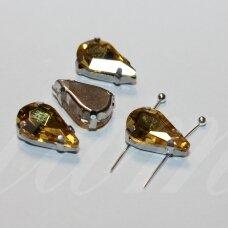 PJA4M13-LAS-08x13 apie 8 x 13 mm, 4 skylių, metalo spalva metalinis pagrindas, lašo forma, geltona spalva, prisiuvama juvelyrinė akutė, 6 vnt.