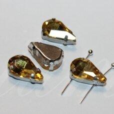 PJA4M13-LAS-05x8 apie 5 x 8 mm, 4 skylių, metalo spalva metalinis pagrindas, lašo forma, geltona spalva, prisiuvama juvelyrinė akutė, 6 vnt.