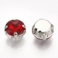 PJA4M16-DISK-08 apie 8 mm, 4 skylių, metalo spalva metalinis pagrindas, disko forma, pilka spalva, prisiuvama juvelyrinė akutė, 6 vnt.