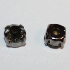 pja4tm01-06x4 apie 6 x 4 mm, 4 skylių, tamsinto metalo spalva metalinis pagrindas, disko forma, žalia spalva, prisiuvama juvelyrinė akutė, 8 vnt.