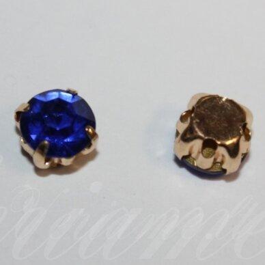 pja4g03-06x4 apie 6 x 4 mm, 4 skylių, auksinė spalva, metalinis pagrindas, disko forma, mėlyna spalva, prisiuvama juvelyrinė akutė, 8 vnt.