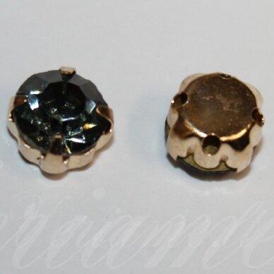 pja4g11-06x4 apie 6 x 4 mm, 4 skylių, auksinė spalva metalinis pagrindas, disko forma, žalia spalva, prisiuvama juvelyrinė akutė, 6 vnt.