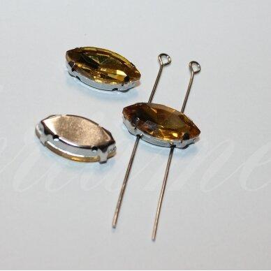 pja4m13-pai-04x8 apie 4 x 8 mm, 4 skylių, metalo spalva metalinis pagrindas, pailga forma, geltona spalva, prisiuvama juvelyrinė akutė, 8 vnt. 3