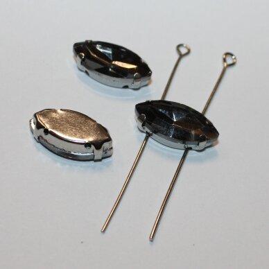 pja4m16-pai-05x10 apie 5 x 10 mm, 4 skylių, metalo spalva metalinis pagrindas, pailga forma, pilka spalva, prisiuvama juvelyrinė akutė, 6 vnt. 3