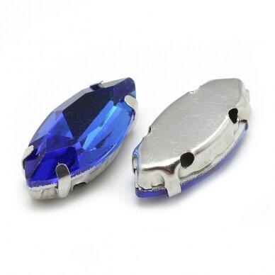 pja4m03-pai-06x12 apie 6 x 12 mm, 4 skylių, metalo spalva metalinis pagrindas, pailga forma, karališko mėlynumo spalva, prisiuvama juvelyrinė akutė, 6 vnt. 2