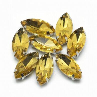 pja4m13-pai-05x10 apie 5 x 10 mm, 4 skylių, metalo spalva metalinis pagrindas, pailga forma, geltona spalva, prisiuvama juvelyrinė akutė, 6 vnt.